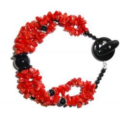Rote Korallen und Onyx Damenarmband CR010