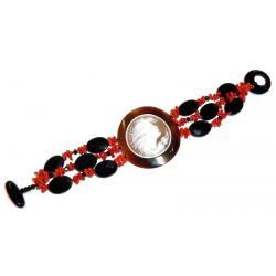 Rote Korallen und Onyx mit Kamee Damenarmband CR202