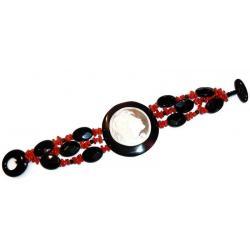 Rote Korallen und Onyx mit Kamee Damenarmband CR204
