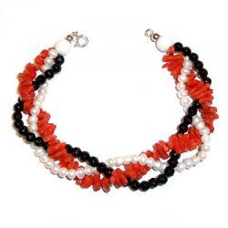 Rote Korallen Onyx und Weiß-Perlen Damenarmband CR210