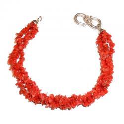 Rote Korallen und Silber Damenarmband CR213