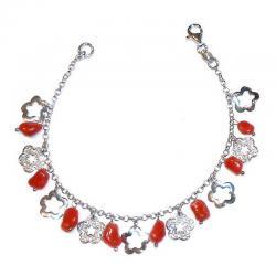 Rote Korallen und Silber Damenarmband CR214