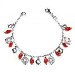 Rote Korallen und Silber Damenarmband CR215