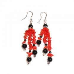Rote Korallen Onix und Silber Damenohrringe CR228