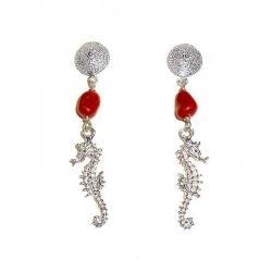 Rote Korallen und Silber Damenohrringe Seepferd CR230