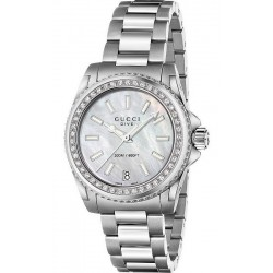 Kaufen Sie Gucci Damenuhr Dive Medium YA136406 Diamanten Perlmutt Quartz