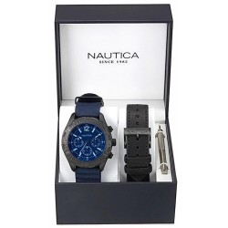 Nautica Herrenuhr NST 402 Box Set NAI22508G Chronograph