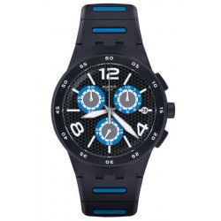 Swatch Herrenuhr Chrono Plastic Black Spy SUSB410 Chronograph