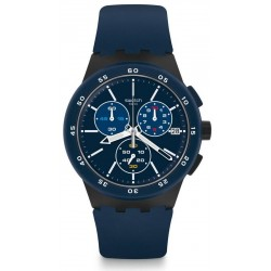 Swatch Herrenuhr Chrono Plastic Blue Steward SUSB417 Chronograph