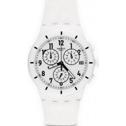 Swatch Unisexuhr Chrono Plastic Twice Again White SUSW402 Chronograph