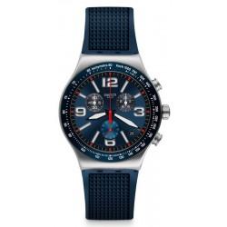 Swatch Herrenuhr Irony Chrono Blue Grid YVS454 Chronograph